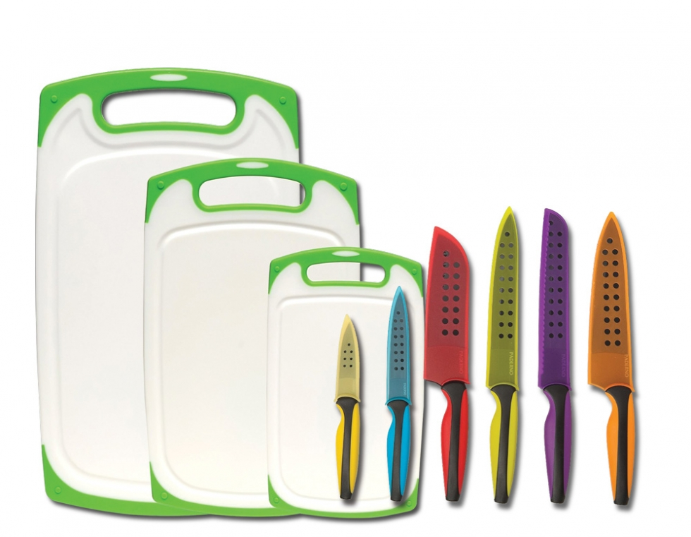 Paderno 6 Piece Knife Set with 3 Anti Bacterial Cutting Boards